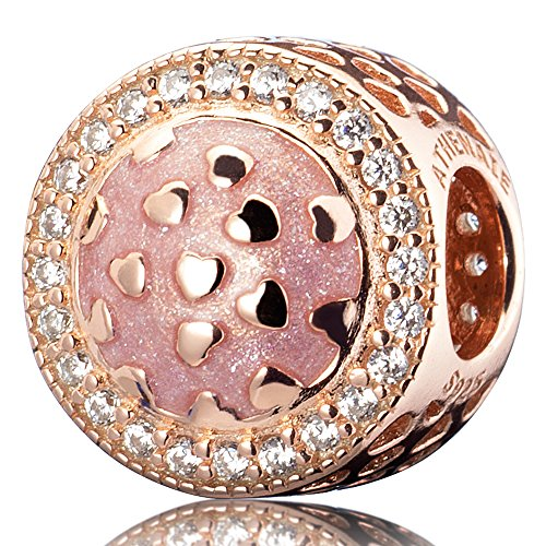 ing Silver Plated Rose Gold  with Pave Clear CZ Pink Radiant Hearts Enamel Openwork Charm ()