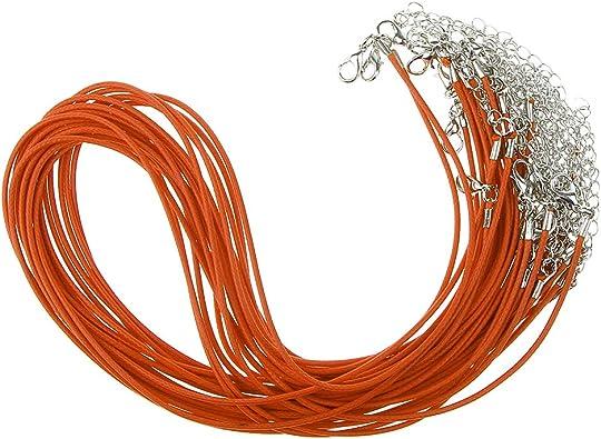 20 Pcs Collier Cordon Corde de Cire Pour Bouton Pression Pendentif