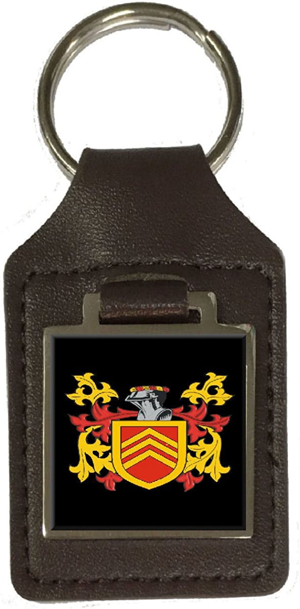 Ore Family Crest Surname Coat Of Arms Brown Leather Keyring Engraved