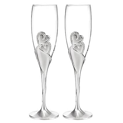 80a688cc52fa Amazon.com | Wedding Accessories Sparkling Love Champagne Flute (Set ...