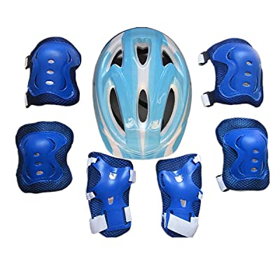 7Pcs/Set Kid Roller Skating Skateboard Adjustable Elbow Knee Pads Wrist Protective Outdoor Sports Safety Guard Helmet Outdoor Protector (Color : E Blue): Home & Kitchen [5Bkhe0305046]