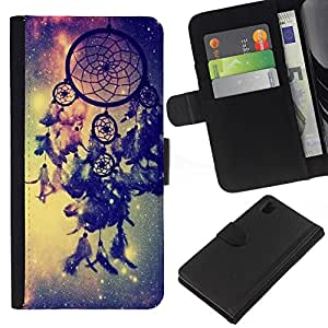 WINCASE Cuadro Funda Voltear Cuero Ranura Tarjetas TPU Carcasas Protectora Cover Case Para Sony Xperia Z1 L39 - espacio azul receptor vía láctea galaxia india