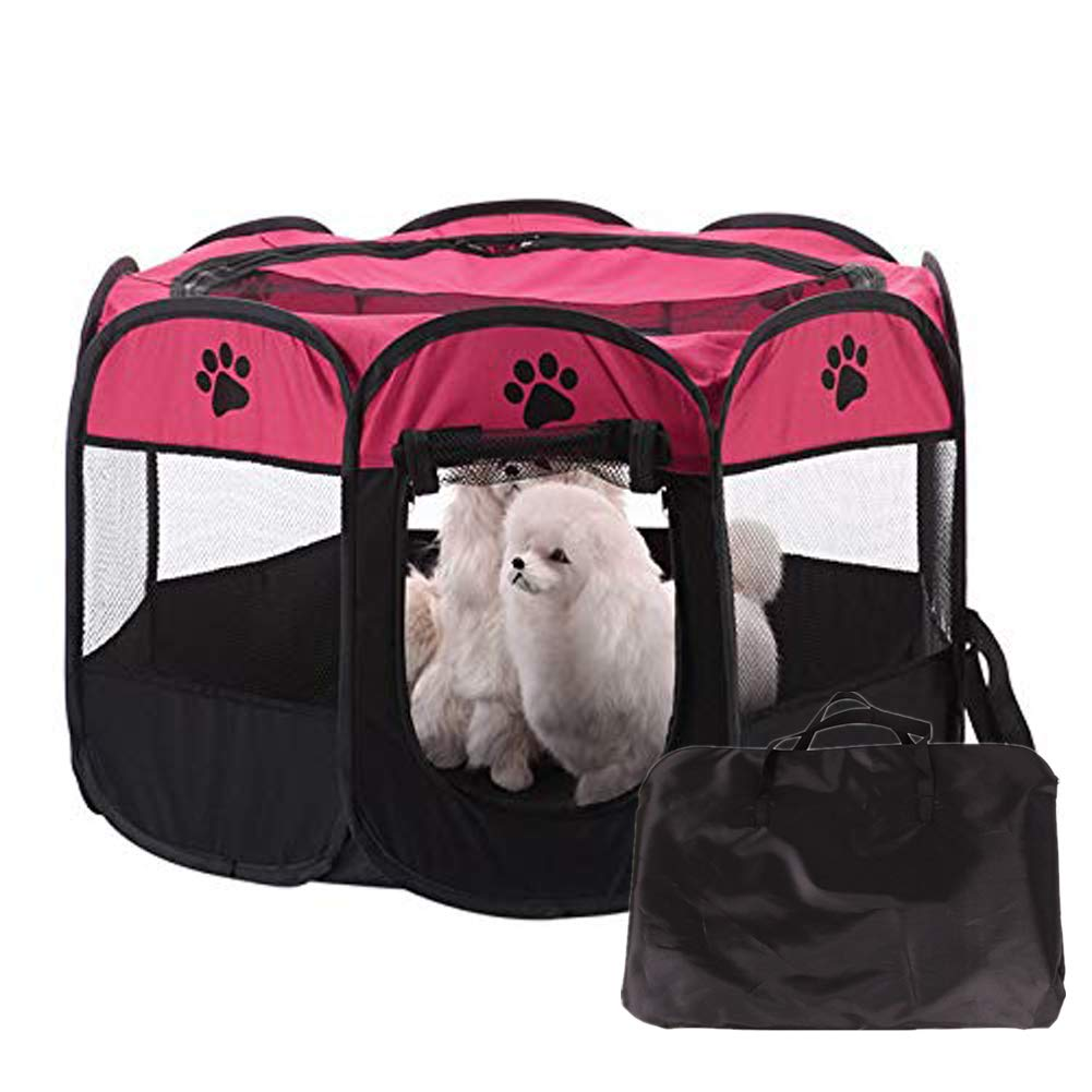 pinkred M pinkred M Foldable Pet Playpen Portable Indoor Outdoor Use8 Panel,pinkred,M
