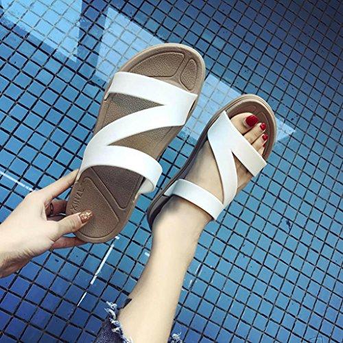 las mujeres casa planas del zapatillas de chanclas Blanco sólido tirón Sandalias del color mujeres de de Sandalias simples BBestseller wT6Pvqq