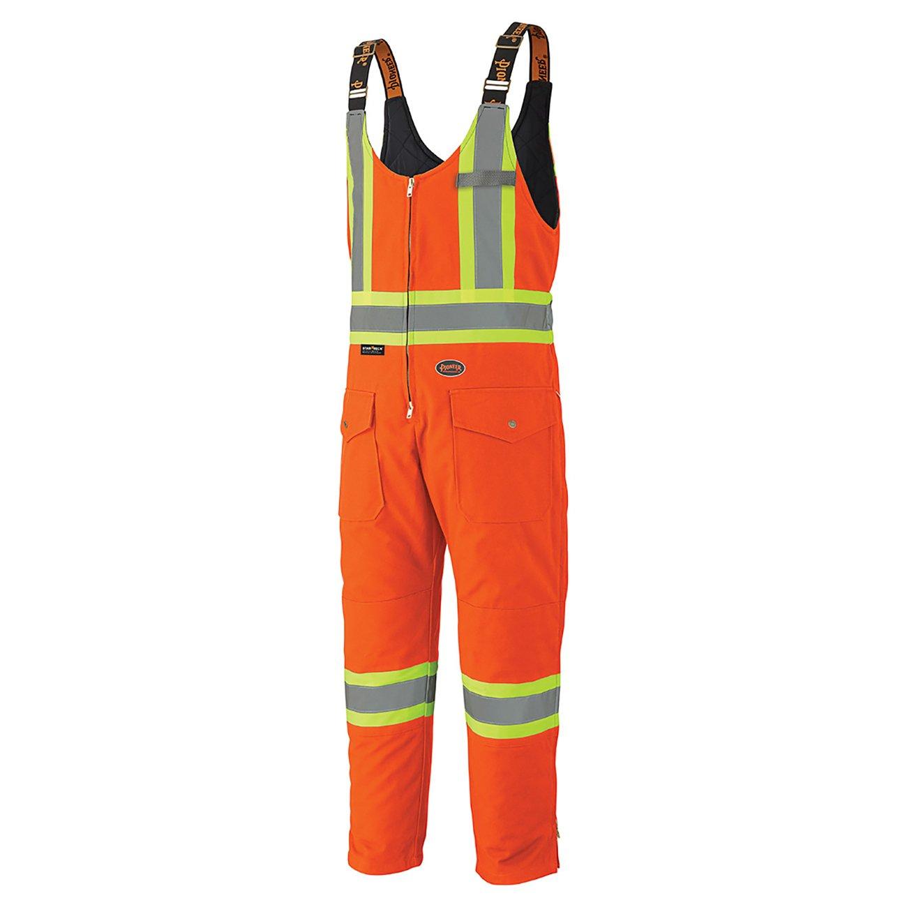 Pioneer V2060550-L Insulated Heavy-Duty Work Overall, 4 Pockets, Men Hi-Vis Bib Pants, Orange, L