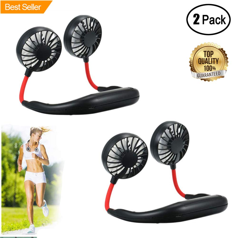 Hand Free Personal Fan,Portable USB Rechargeable Mini Fan Headphone Design Wearable Neckband Fan Necklance Fan Cooler Fan with Dual Wind for Traveling Outdoor Office Room 2Pack Black