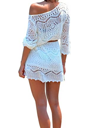 490a04ccec3d1 Creabygirls Women's Sexy Crochet Hollow Out Bikini Cover Up Dress with Belt  White at Amazon Women's Clothing store: