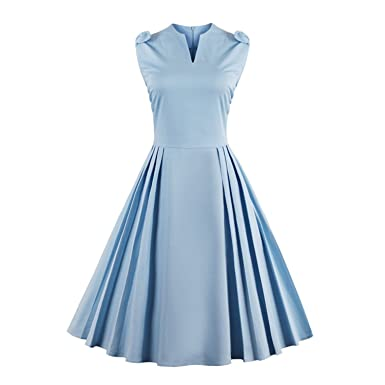 WINNER NEW Elegant Dress Stand Neck Vintage Dress Summer Blue Bow Swing Rockabilly 4XL plus size