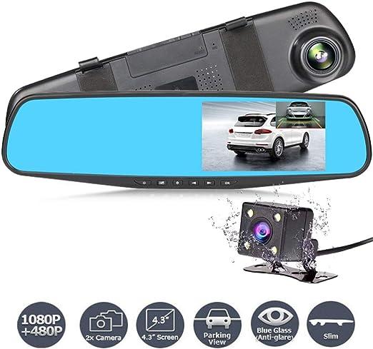 Dual Lens Car Camera Recorder DVR 1080P Night Vision Rearview Mirror 170° Angle