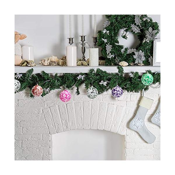 Belle Vous Palline di Natale Trasparenti (Set da 12) - Palle di Natale Plastica da 7,7cm con Vortice Bianco - Palle Natale Plastica Trasparente con Spago per Decorazioni Natale e Addobbi Albero Natale 5 spesavip