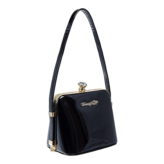 Vintage & Retro Handbags, Purses, Wallets, Bags Banned Womens Dark Blooms Patent Bag - One Size (Black) $57.98 AT vintagedancer.com