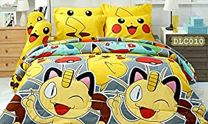 "Pokemon Official Licensed Yellow Bedding Set, Fitted Sheet, Pillow Case, Bolster Case, Comforter DLC010 Set B+1 (Queen 60""x78"")"