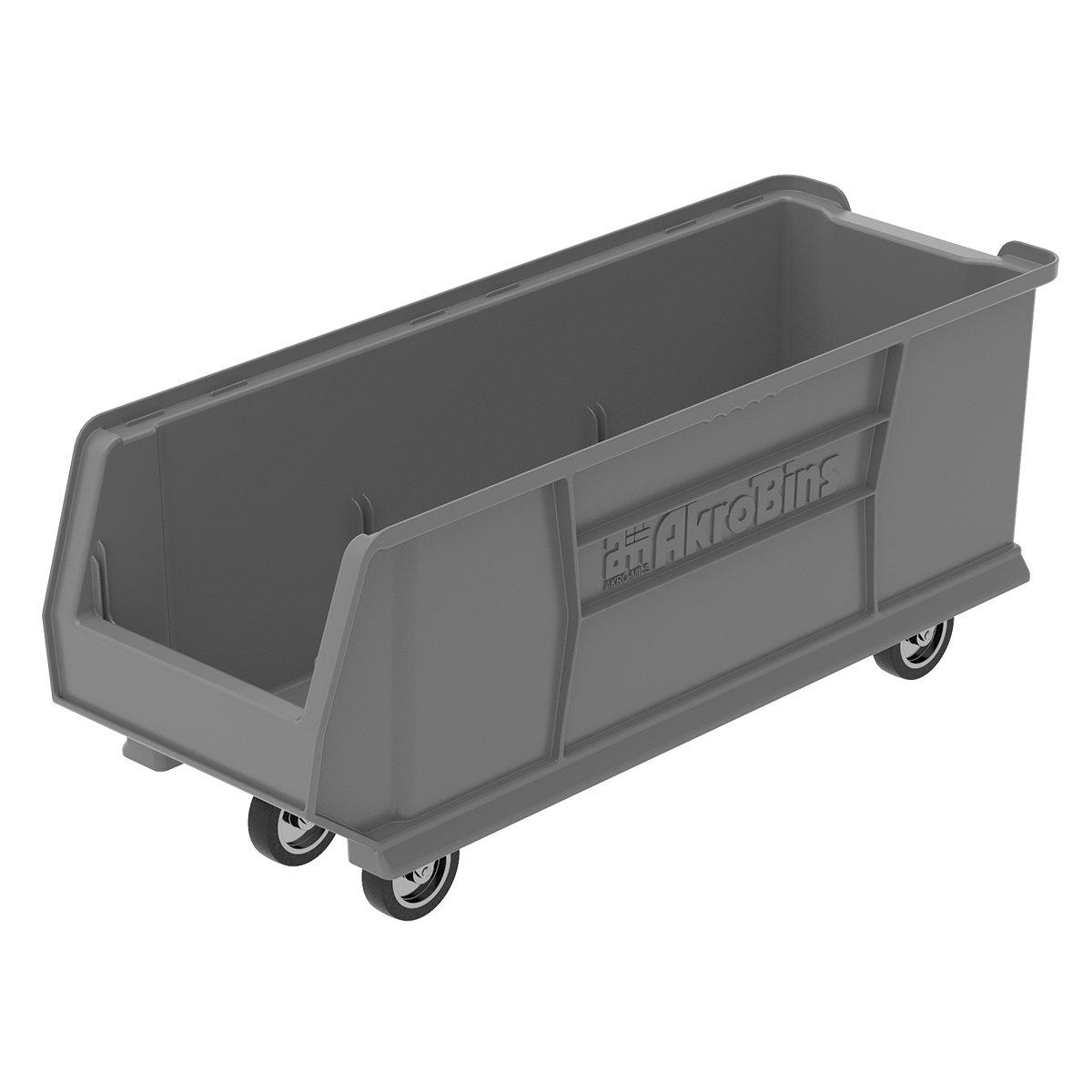 Akro-Mils 30292MOBGREY Mobile Super Size Plastic Stacking Storage Akro Bin - 30'' D x 11'' W x 10'' H, Grey, Case of 4