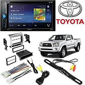 "Pioneer Double 2 Din AVH-200EX DVD/MP3/CD Player 6.2"" Touchscreen Bluetooth W/ Toyota Tacoma Double Din Car Stereo Radio Installation Dash Mount Kit Harrness + CAM-600 License Plate Rear View Camera"