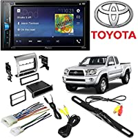 Pioneer Double 2 Din AVH-200EX DVD/MP3/CD Player 6.2 Touchscreen Bluetooth W/ Toyota Tacoma Double Din Car Stereo Radio Installation Dash Mount Kit Harrness + CAM-600 License Plate Rear View Camera