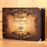 LANNA SHOP- Retro Photo Album,Handmade Couple Anniversary Scrapbook DIY Album,Wedding Memo Photos Album (34x23cm) ( Color : Square mirror )