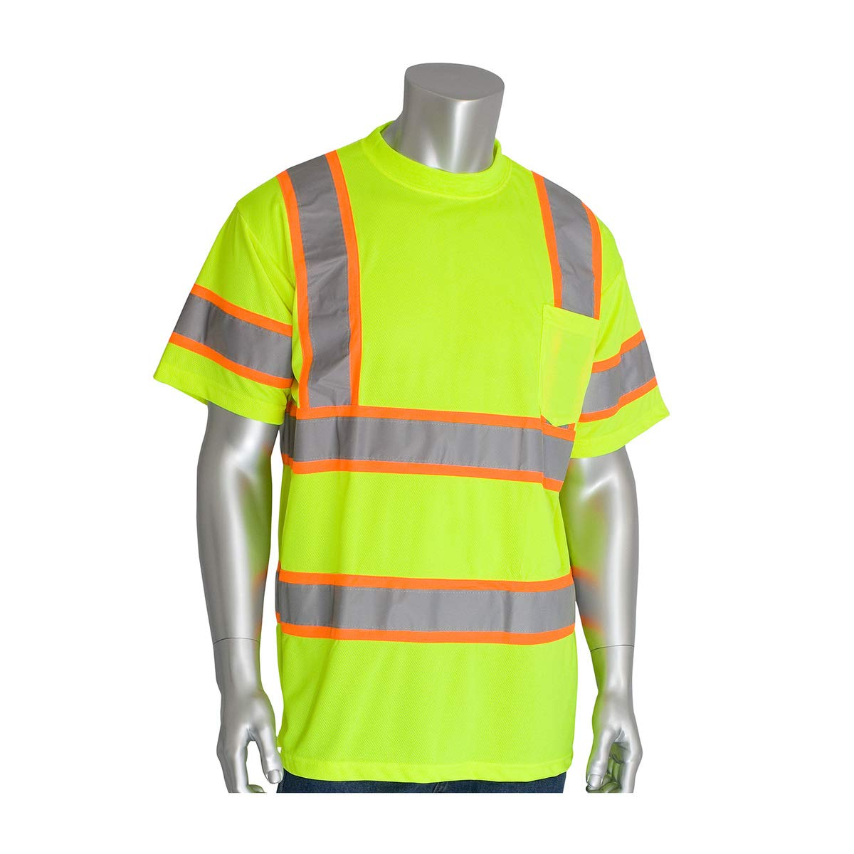 Protective Industrial Products Large Hi-Viz Yellow/Hi-Viz Orange 1 Polyester/Birdseye Mesh Two-Tone Shirt - Pack of 25 by PROTECTIVE INDUSTRIAL PRODUCTS (Image #1)