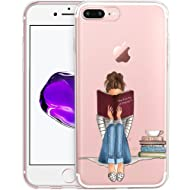 Girl Reading Book Drawing Clear Phone Case for iPhone 8 Plus / iPhone 7 Plus Customized Design by MERVELLE TPU Clear Shock-Proof Protective Case [Ultra Slim, Anti-Slippery]