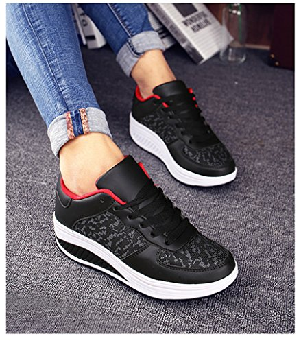 Femme D'athlétisme Pour Noir Newzcers Chaussures rouge q7FzOt