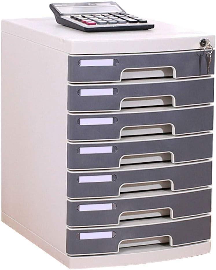 Cajonera para archivadores 7 cajones con Cerradura Organizador de gabinete de Almacenamiento de Archivos de plástico - Gris 30.2X35.9X43.2cm Caja de Almacenamiento
