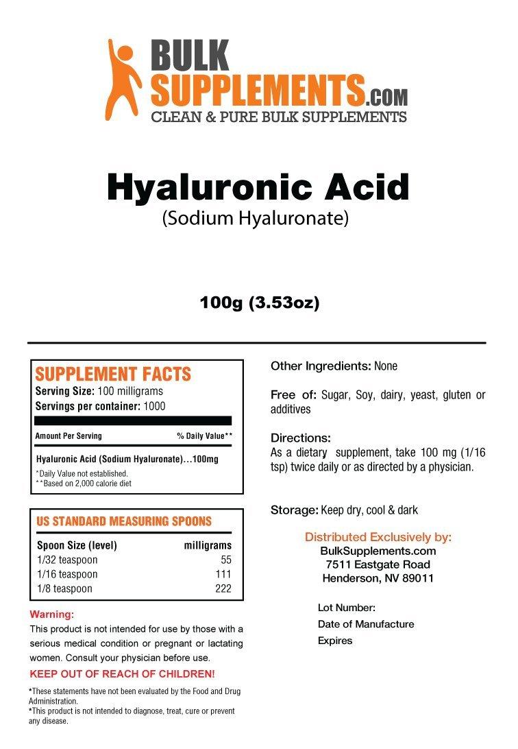BulkSupplements Hyaluronic Acid (Na Hyaluronate) Powder (100 Grams)