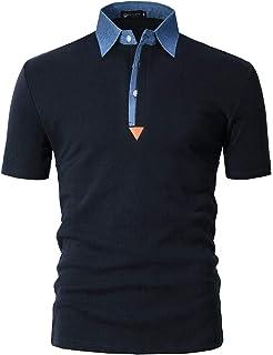 5d6e2627eb STTLZMC Polo para Hombre de Manga Corta Casual Moda Algodón Camisas Denim  Cuello en Contraste Golf