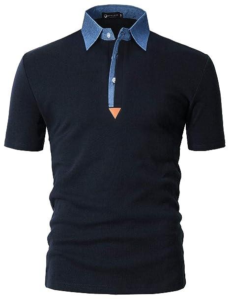 8911f330c3a STTLZMC Polo para Hombre de Manga Corta Casual Moda Algodón Camisas Denim  Cuello en Contraste Golf Tennis  Amazon.es  Ropa y accesorios