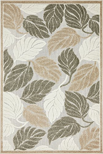 Unique Loom Outdoor Botanical Collection Warm Colors Leafs Transitional Indoor and Outdoor Flatweave Beige  Area Rug (4' 0 x 6' 0)