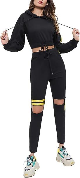 Ropa Casual Mujer Hoodie Y Pantalones Dos Piezas Moda Otoño Set ...