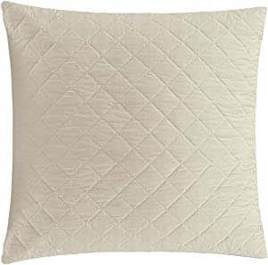 Echelon Home Euro [Pair] Stone Quilted Washed Belgian Linen Shams