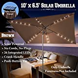 BROWN-NEW 10'x6.5' OUTDOOR SOLAR POWERED 26 LED LIGHTS PATIO UMBRELLA RECTANGLE SUNSHADE