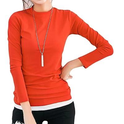 Abetteric Women's Long Sleeve Fleece Crewneck Solid Thick Top T Shirt