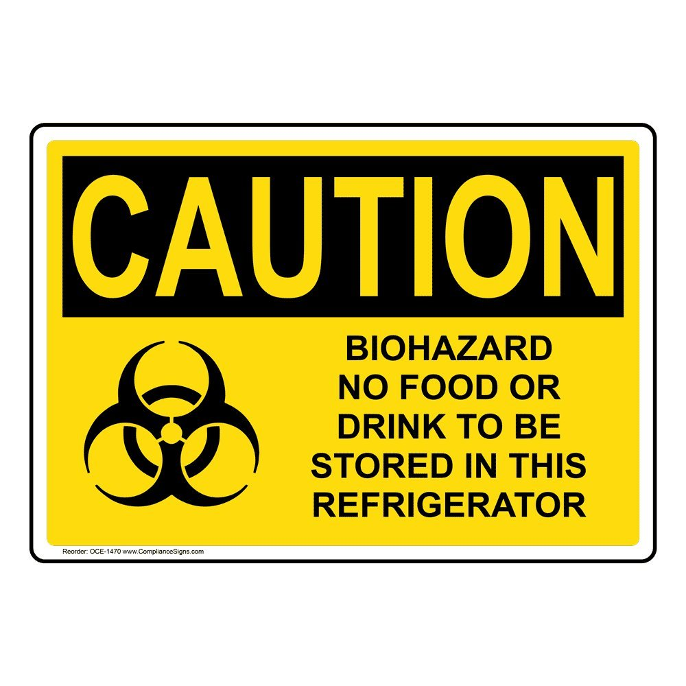 Caution Biohazard No Food Or Drink OSHA Safety Label Decal, 7x5 in. Vinyl for Medical Facility Hazmat by ComplianceSigns