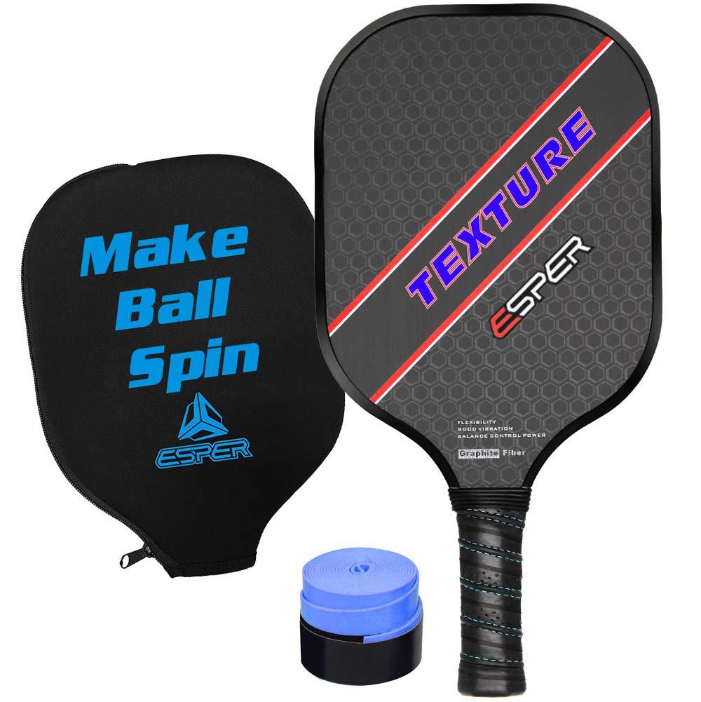 ESPER ピックルボールパドル – テクスチャードグラファイト表面ピックルボールラケット ハニカムコアピックルボールパドルセット 人間工学に基づいたグリップエッジガード 耐久性スピンボールピックルボールパドル 軽量ラケット B07H7FLNF3