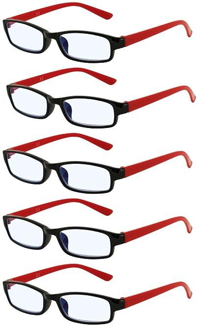 4sold Gafas de Lectura Presbicia Vista Cansada - (Pack 5) Graduadas fde 0.5 Dioptrías Montura de Pasta Azul Marrón Negra Carey Diseño Moda Hombre ...