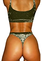 Lovaru Women Sexy Velvet Bikini Swimwear Thong Bottom Tant Top Underwear Swimsuits