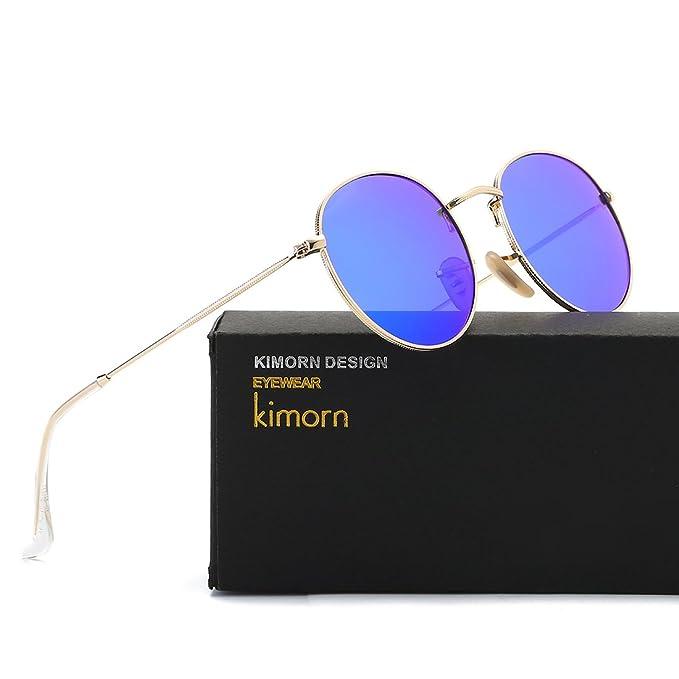 f73afe076b2f87 kimorn Polarisierte Sonnenbrille Unisex Klassische Runde Metallrahmen Retro  Sonne Gläser K0556 (Gold Blau)  Amazon.de  Bekleidung