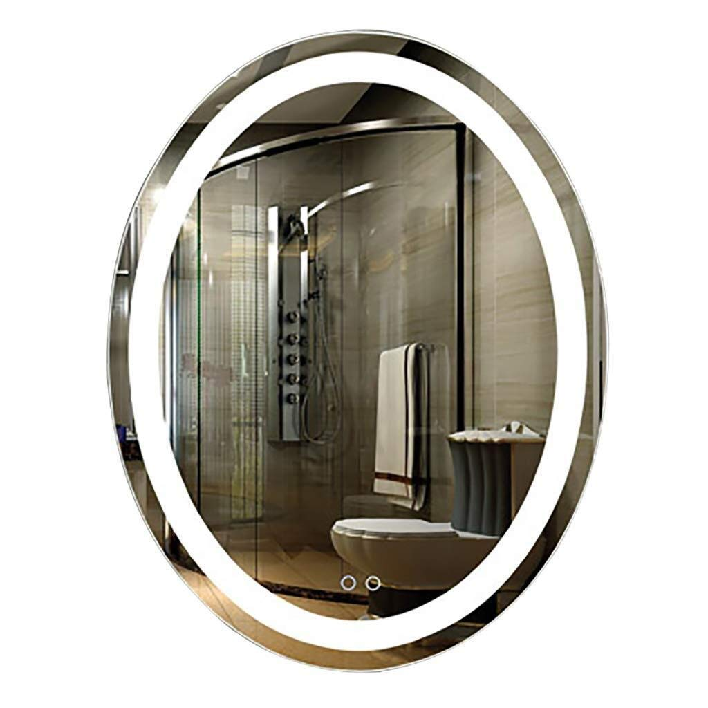 Beauty mirror LED Bathroom Mirror, IlluminatedModern Oval Wall-Mounted Vanity Mirror With Touch Switch Demister Dressing mirror (Size : 600MMx800MM) by Makeup Mirrors