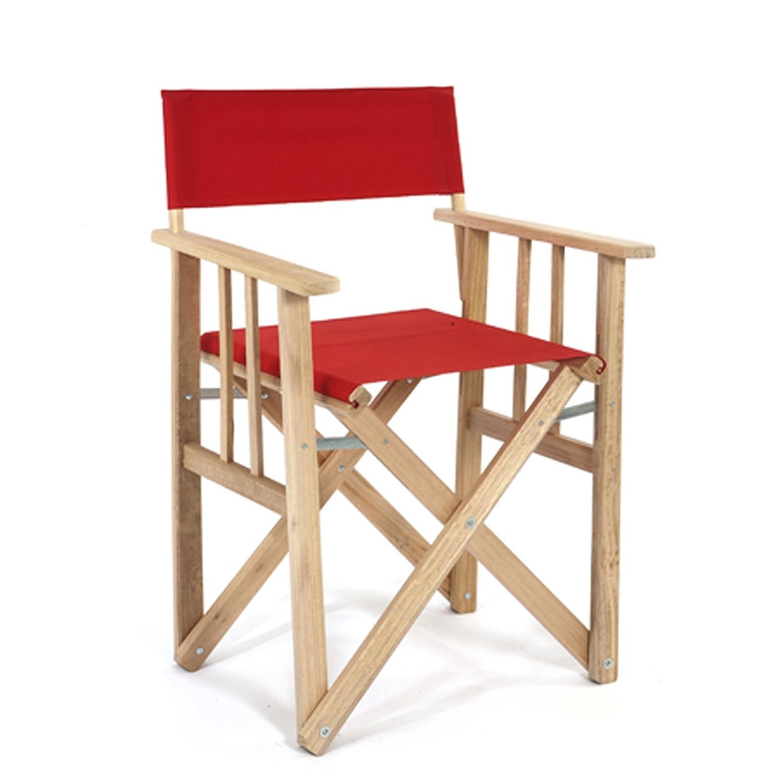 LONA 折りたたみ 木製 ディレクターチェア レッド 約53×47×H85cm 01.01.01.005 B01C9PJD8S レッド レッド