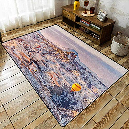 Custom Rug,Winter,Cappadocia Turkey Landscape with Hot Air Balloons Anatolia Valley Geology Tourism,Easy Clean Rugs Multicolor