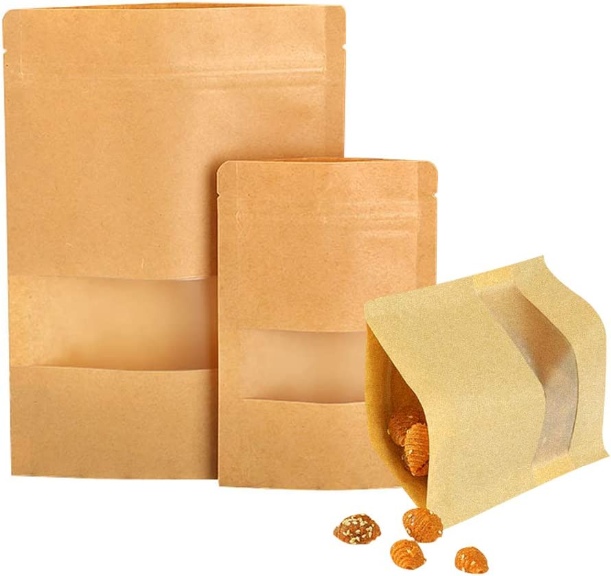 Kraft paper stand-up pouch, with plastic windows and tear-open zipper paper bags, waterproof, reusable sealed folding paper bags, storage and packaging nuts coffee tea food (3.5 x6.7in(9x14+3cm))