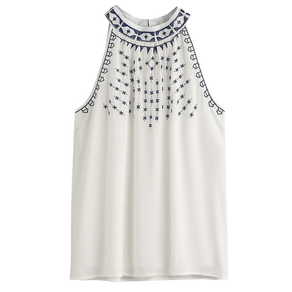 Vovotrade ☆☆ Heiße bequeme Frauen Sommer gestickte Sleeveless beiläufige Blusen T-Shirt Trägershirts 20116