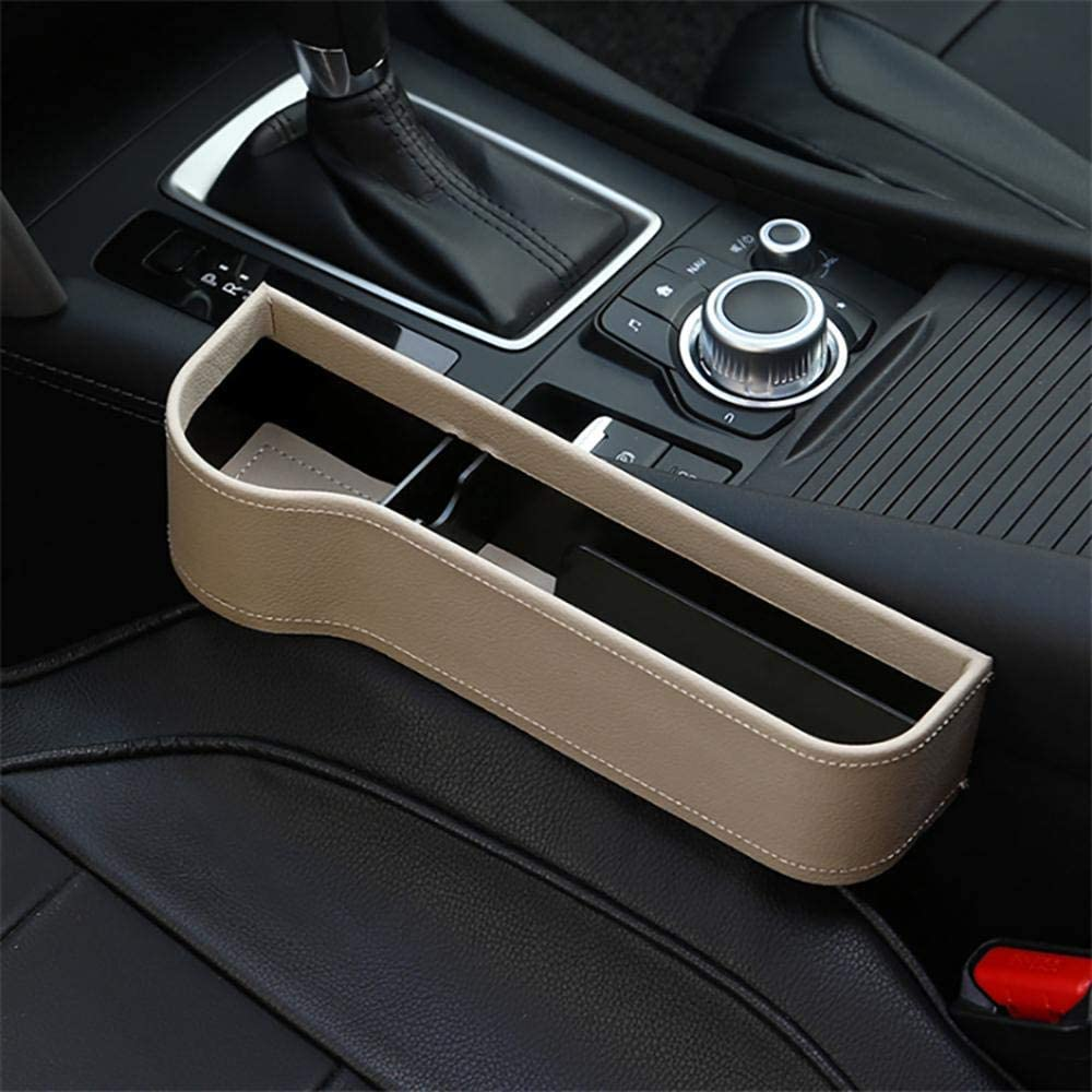 1pcs Passenger Side, Right Riiai Car Seat Storage Box,1 pcs PU Leather Car Seat Gap Catcher Organiser Clearance Storage Box with Cup Holder Side Car Seat Gap Storage Box