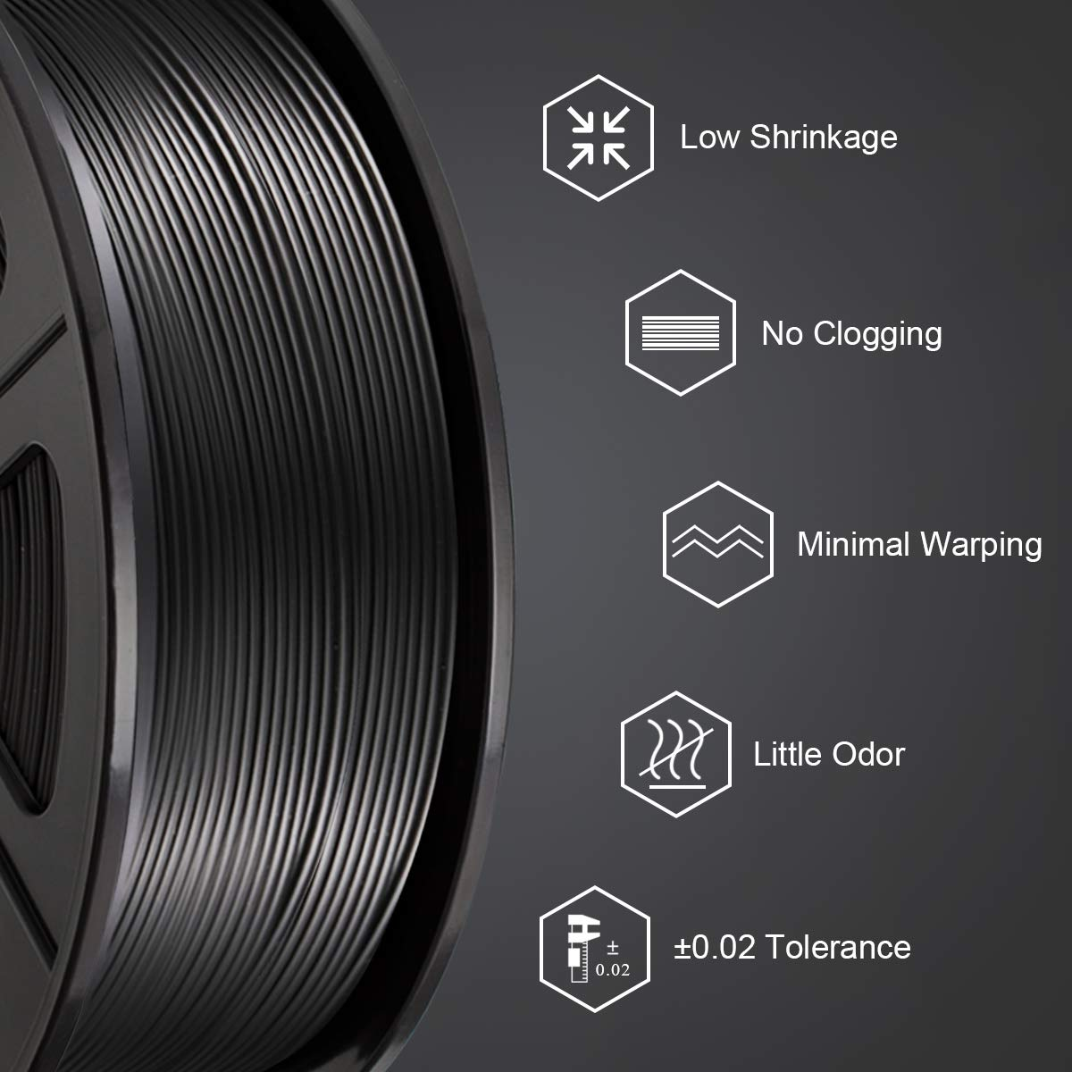 3D Warhorse ABS Filament 1.75mm,White ABS Filament for 3D Printer,1KG Spool,Dimensional Accuracy // 0.02mm,3D Printing Filament ABS White,ABS Filament,1.75mm Filament