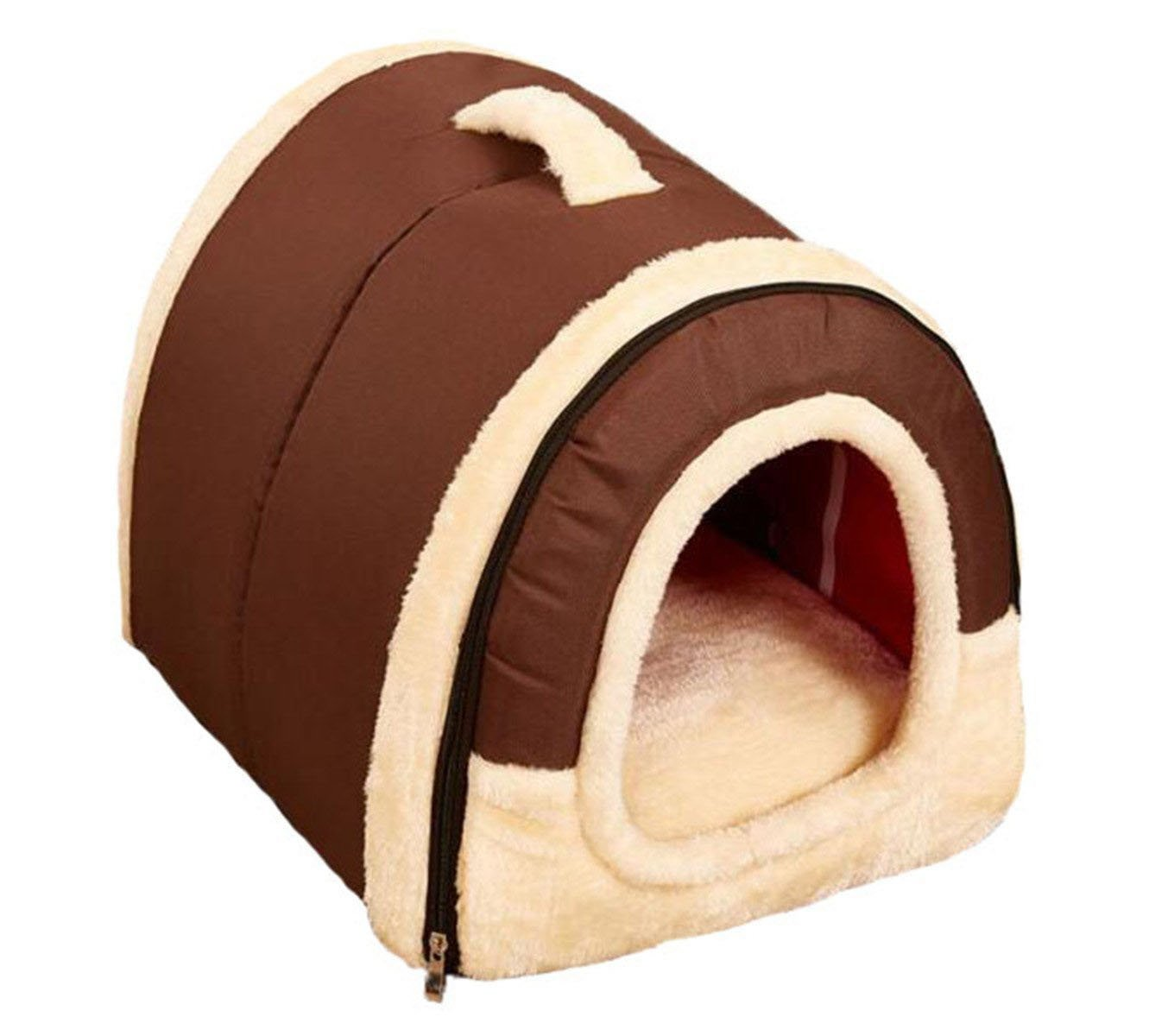 Brown L Brown L Cozy Pet Dog Cat Cave,M&G House Portable Soft Sided Plush Pillowed Indoor Cat Congreenible Pet House Slip Sofa Puppy Bed L