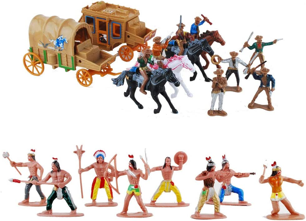 55pcs//set Cowboys /& Native American Indians Plastic Figure Soldiers Toys Playset