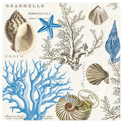 (Michel Design Works 20-Count 3-Ply Paper Cocktail Napkins, Seashore )