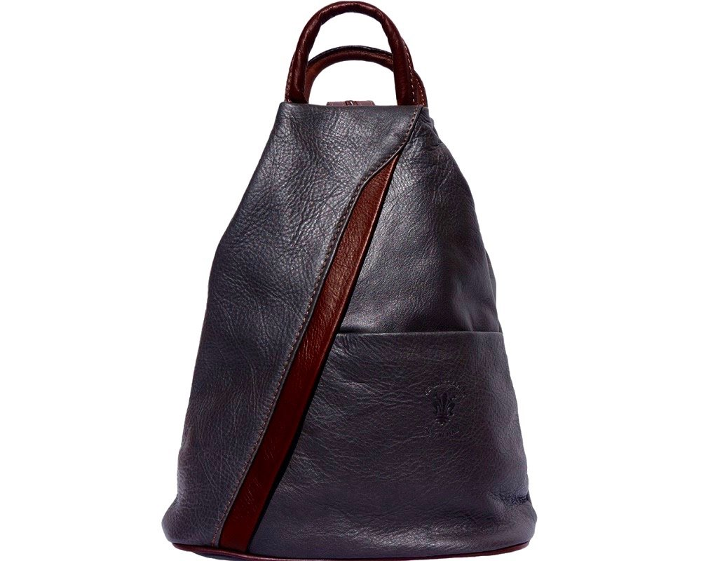 LaGaksta SubMedium Small Italian Leather Backpack Purse and Shoulder Bag/Grey-Brown