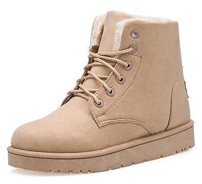 SHOWHOW Damen Flach Kurzschaft Stiefel Schnürsenkel Worker Boots Pink 39 EU yBZPFZpOS