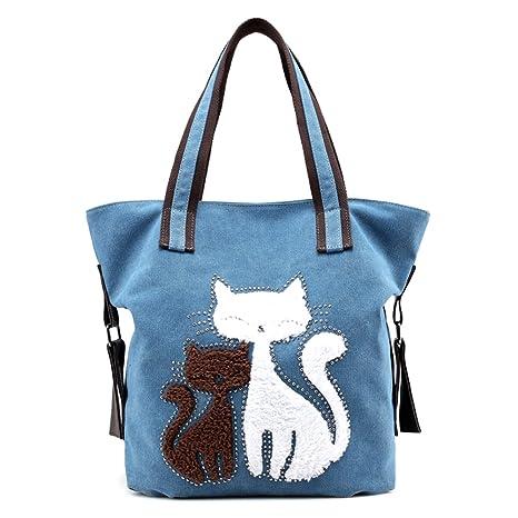 Women Cat Canvas Shoulder Bag Canvas Purse Tote Shoulder Bag Travel Beach  Handbag Lady Retro Handbags ebb74d804497d